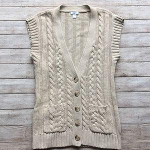 Loft Women's Sleeveless Cable Knit Duster Sweater